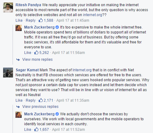 Facebook on net neutrality